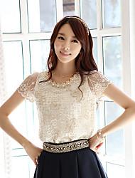 Amoi бисером кружева рубашки вышитые рубашки шифон печать с короткими рукавами футболки марлевые рубашки женщина