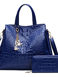 Women Bag Sets PU All Seasons Wedding Event/Party Casual Formal Office & Career Barrel Zipper Blue White Black Red