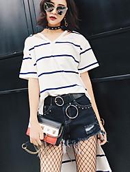 Modelo tiro real no verão de 2017 antes da nova coreano longa seção solta do longo e curto t-shirt listrado feminino