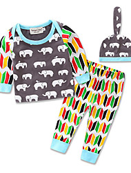 Boy Baby Cartoon Long Sleeve T-shirt Stripe Pants Spring and Autumn Kids Leisure Time Clothing Boys Cotton Clothes Set