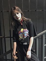 tiro real na primavera e verão coreano moda retro dos desenhos animados t-shirt impressa de manga curta t-shirt maré feminina solta