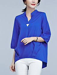 Women's Going out Work Simple Sophisticated Blouse,Solid V Neck ¾ Sleeve Rayon Polyester