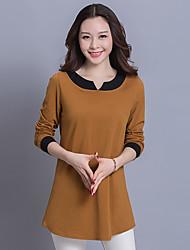 signe du printemps gras mm nouvelle version coréenne de t-shirt à manches longues femmes de grande taille coton lâche v-cou était mince