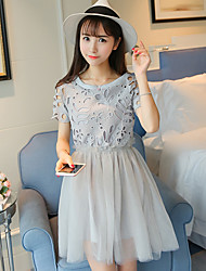 Sign new summer Women Korean Fashion Slim was thin short-sleeved long section Lei mesh yarn dress