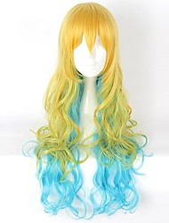 Cosplay Wigs Cosplay Cosplay Yellow Green Long Curly Anime Cosplay Wigs 80 CM Heat Resistant Fiber