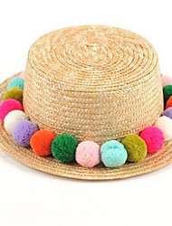 Women 's Summer Cute Multicolored  Ball Sun Sunscreen Flat Straw Hat