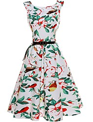 Women's Beach A Line Dress,Floral Round Neck Above Knee Sleeveless Cotton Summer Mid Rise Stretchy Thin