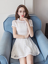 Skirt summer 2017 new Korean Women Slim temperament ladies small fresh white lace dress A word