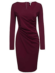 Women's Casual/Daily Work Simple Street chic Slim OL Style Bodycon Pencil DressSolid V Neck Above Knee Long Sleeve Spring Fall Mid Rise