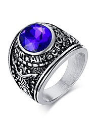 High Polished Stainless Steel Male Jewelry Simulated Gemstone Men Ring Gold plated Men's Ring