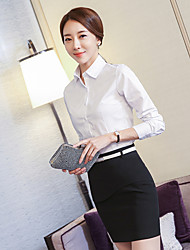 Women's Office/Career Formal Evening Business Attire Simple Summer Shirt,Others Shirt Collar Long Sleeve N/A Medium