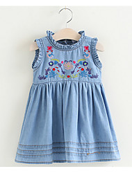 Girl's Casual/Daily Solid Floral Dress,Cotton Summer Short Sleeve