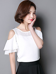 Real shot summer 2016 women's chiffon shirt short-sleeved t-shirt lady solid color flouncing strapless clothes tide