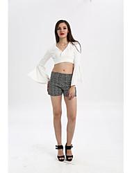 Lo shi verão 2017 na Europa e América fino fino branco v-neck túnica camisa de manga curta chifre