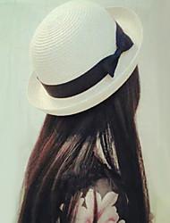 Для женщин Очаровательный На каждый день Панама Соломенная шляпа Шляпа от солнца,Лето осень Полиэстер Соломка Однотонный