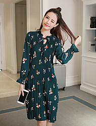 Sign 2017 spring pleated floral chiffon dress lantern sleeve belted tie dress was thin