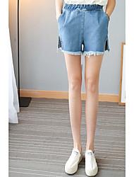 Real tiro calças de brim mulheres de tamanho grande gordura mm200 libras estudantes solta cintura elástica shorts burr split