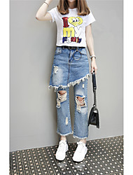 Sign Branded new European leg hole jeans skirt irregular fake two female pantyhose tide