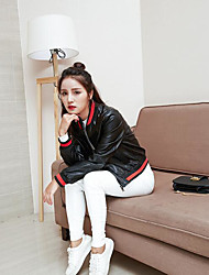 Women's Going out Cute Spring Fall Leather Jacket,Striped V Neck Long Sleeve Short Polyester