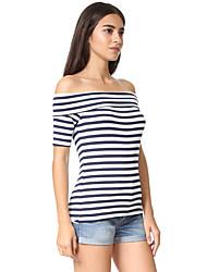 Damen Gestreift Street Schick Strand T-shirt,Schulterfrei Kurzarm Baumwolle