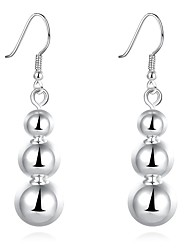 Concise Silver Plated Triple Beads Connected Drop Earrings for Party Women Jewelry Accessiories