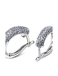 Amazing C shape Hoop earrings for women Gold Rhodium Color Synthetic Cubic Zirconia Lead Free Girls' Party Jewelries