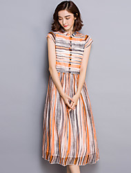 2017 Bohemia heavy striped silk dress high-grade silk dress temperament big summer