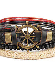 Retro Exaggerated National Wind Eyeball Multi-layer Adjustable Beaded Hand-woven Rudder Anchor Cowhide Bracelet