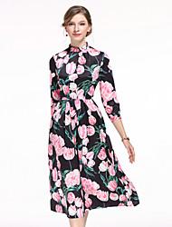 Feminino Evasê Vestido,Casual Fofo Floral Colarinho Chinês Médio Manga ¾ Outros Primavera Verão Cintura Média Sem Elasticidade Média