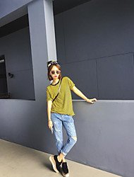 Loose hole jeans female summer was thin thin beggar pants big BF wind hole jeans