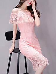 Women's Going out Party Sexy Fashion Slim Thin Lace Dress Solid Cut Out Boat Neck Knee-length Sleeveless Lace Summer