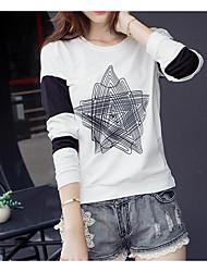 Damen Druck Einfach Lässig/Alltäglich T-shirt,Rundhalsausschnitt Langarm Baumwolle Dünn