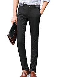 Men's Slim Chinos PantsCasual/Daily Simple Solid Mid Rise Button Cotton Micro-elastic All Seasons HY-SF11