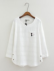 Damen Tierfell-Druck Einfach Lässig/Alltäglich T-shirt,Rundhalsausschnitt Langarm Baumwolle
