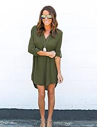 Aliexpress ebay amazon autumn nouveau manches longues v-neck mousseline avant simple robes longues et courtes