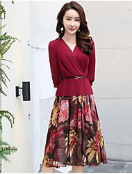 Women's Going out Vintage A Line Dress,Floral V Neck Above Knee Long Sleeve Rayon Spring Low Rise Micro-elastic Medium