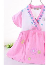 Girl's Floral Dress,Cotton Summer Short Sleeve