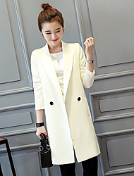 Women's Going out Work Sophisticated Spring Fall Blazer,Solid Shirt Collar Long Sleeve Long Nylon