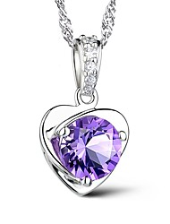 Women's Pendant Necklaces Crystal Heart Sterling Silver Austria Crystal Love Fashion Euramerican Purple Jewelry ForParty Special Occasion