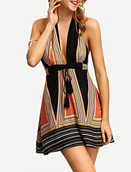 Women's Going Out Casual/Daily Work Sexy Sheath Skater Dress Deep V Halter Striped Above Knee Sleeveless Backless Cotton Rainbow