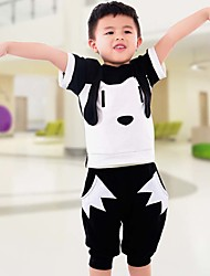 Boy's Cotton Fashion Pure Cotton Pure Cotton Pants  Black And White Color Matching Dog T-shirt harlan Two-Piece Outfit