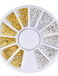 1 Box Gold Silver Metal Rods Nail Art Decorations Wheels Straight Curve Design Charm 3d Nail Studs Manicure Accessories