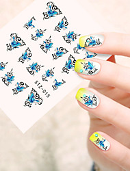 5pcs/set Fashion Sweet Style Beautiful Nail Art DIY Sticker Beautiful Butterfly Design Sweet Nail Water Transfer Decals STZ-015