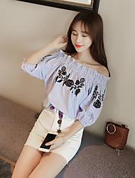 Puff wawa shan flores de verão doce colarinho bordado loose short-sleeved t-shirt de cobertura