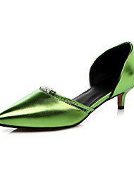 Women's Sandals Spring Fall Comfort Light Soles PU Wedding Dress Party & Evening Kitten Heel RhinestoneGold Silver Red Green Blushing