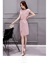 Women's Going out Simple Sheath Dress,Solid Round Neck Knee-length Short Sleeve Polyester Summer Mid Rise Micro-elastic Medium