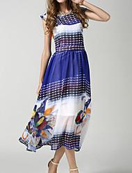 Sign 2015 new summer chiffon dress sleeveless elastic waist chiffon dress positioning flowers