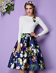 Spring 2017 original high-end real shot retro print skirts waist Slim put on a large tutu