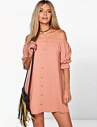 Going out Casua Simple Street chic Loose DressSolid Boat Neck Mini  Length Sleeve