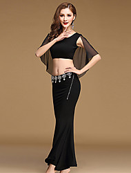Belly Dance Outfits Women's Performance Tulle Modal Sexy 2 Pieces Solid Sleeveless Dance Costumes Natural Top Skirt Purple / Red / Black / Blue